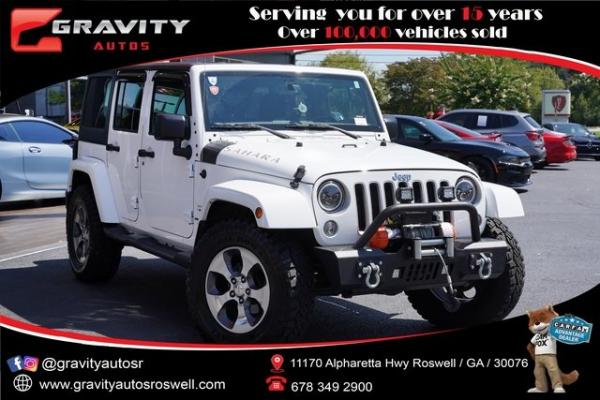 Used 2018 Jeep Wrangler JK Unlimited Sahara for sale $43,796 at Gravity Autos Roswell in Roswell GA