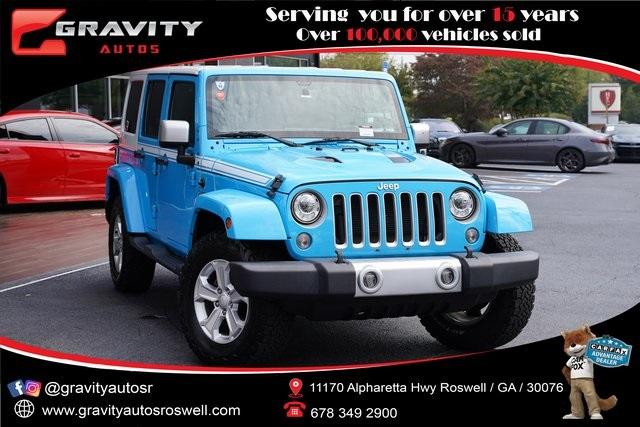 Used 2017 Jeep Wrangler Unlimited Sahara for sale $39,992 at Gravity Autos Roswell in Roswell GA 30076 1